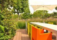 restaurant, entreprise, mobilier coloré, parasol, terrasse, filtre, graminée, Atelier_dlv, DLV, paysagiste concepteur